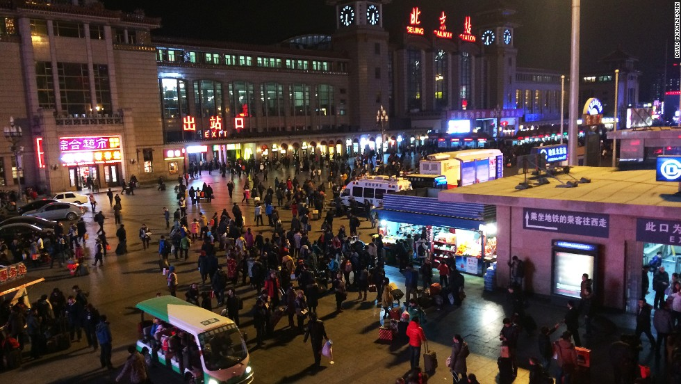 Beijing Railway Station is a hive of activity as people stream home for the Lunar New Year. More than 200 million rail trips are taken during the holiday period and often travelers aren't able to pre-book their seats.