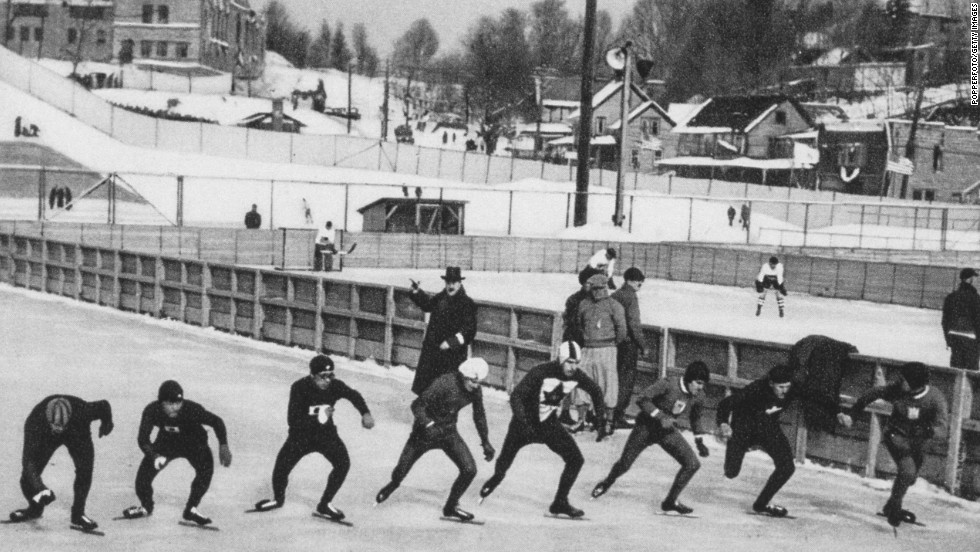 Skaters prepare for the start of the men's 10,000-meter speed skating event in Lake Placid, New York, in 1932. Irving Jaffee of the United States won the gold, with Ivar Ballangrud of Norway and Frank Stack of Canada taking silver and bronze, respectively.