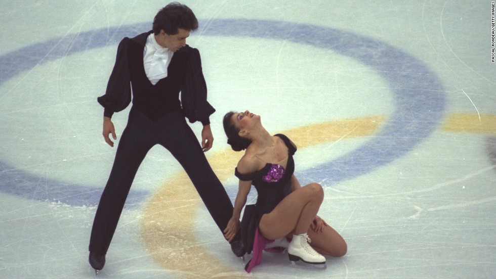 Paul Duchesnay and sister Isabelle Duchesnay-Dean of France perform their routine during the compulsory dance section of the ice dancing competition in Albertville in 1992.