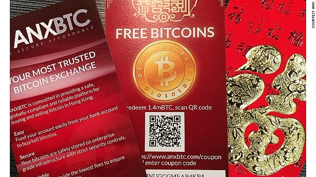 ANX Bitcoin vouchers were handed out to passersby in Hong Kong during Lunar New Year