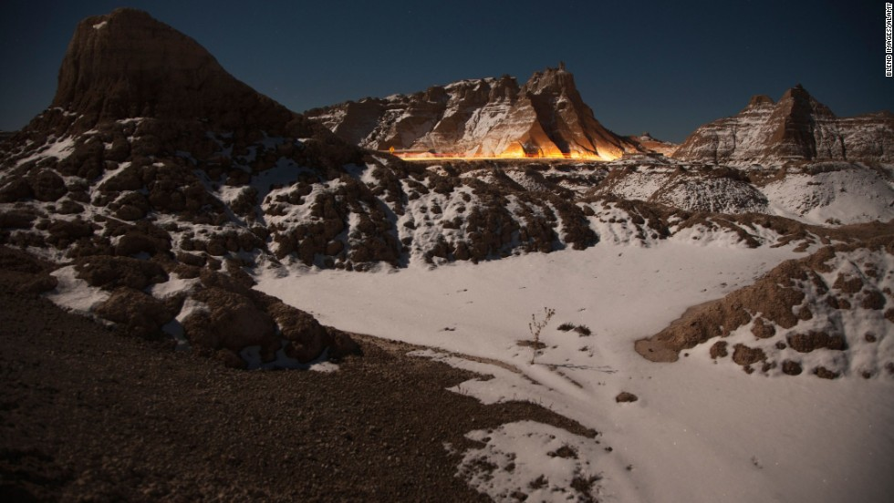 With temperatures hovering around zero, you may have the land formations at Badlands National Park all to yourself.