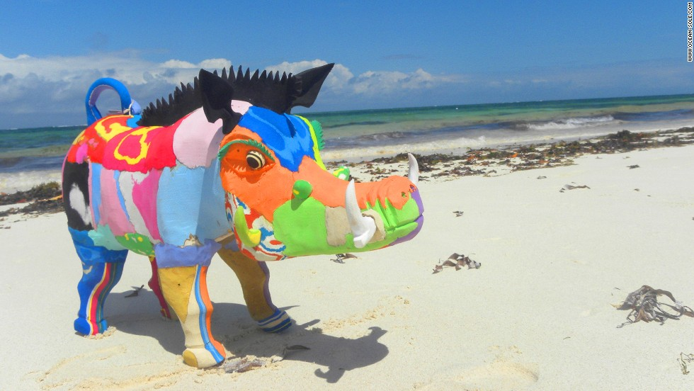 Church pulled together a team of craftsmen that would eventually transform the discarded flip-flops into animal sculptures -- big and small -- including elephants, warthogs and rhinos.