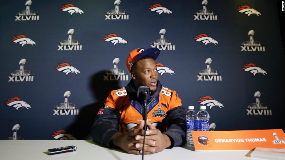 Broncos wide receiver Demaryius Thomas talks with reporters during a Super Bowl XLVIII news conference in Jersey City, New Jersey, on Thursday, January 30.