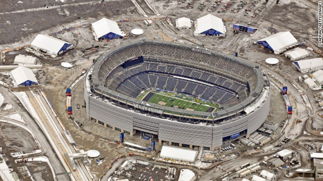 An aerial view shows MetLife Stadium this week as crews ready the East Rutherford, New Jersey, venue for Super Bowl XLVIII.