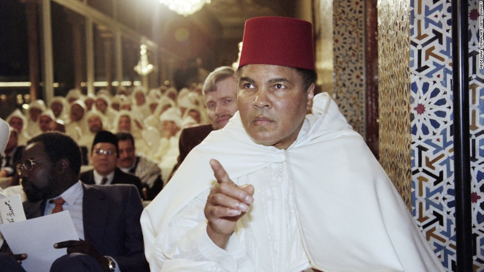 Former World Heavyweight Champion Muhammad Ali participates in a religious ceremony for the Muslim holy month of Ramadan in the Royal Palace in Rabat, Morocco, in 1998. Ali first converted to the Nation of Islam but has since become a Sufi Muslim, according to his daughter.