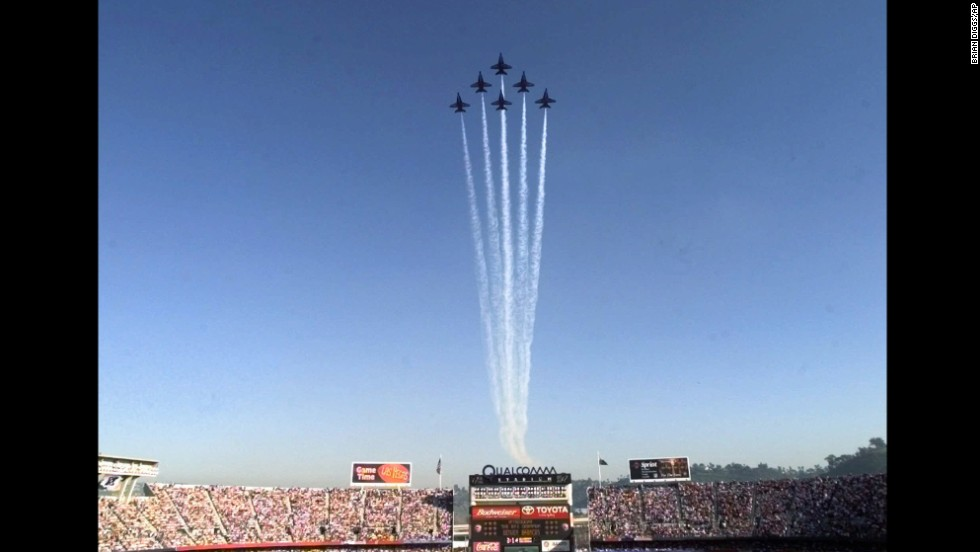 The Navy's Blue Angels fly over Qualcomm Stadium in San Diego before Super Bowl XXXII in 1998.