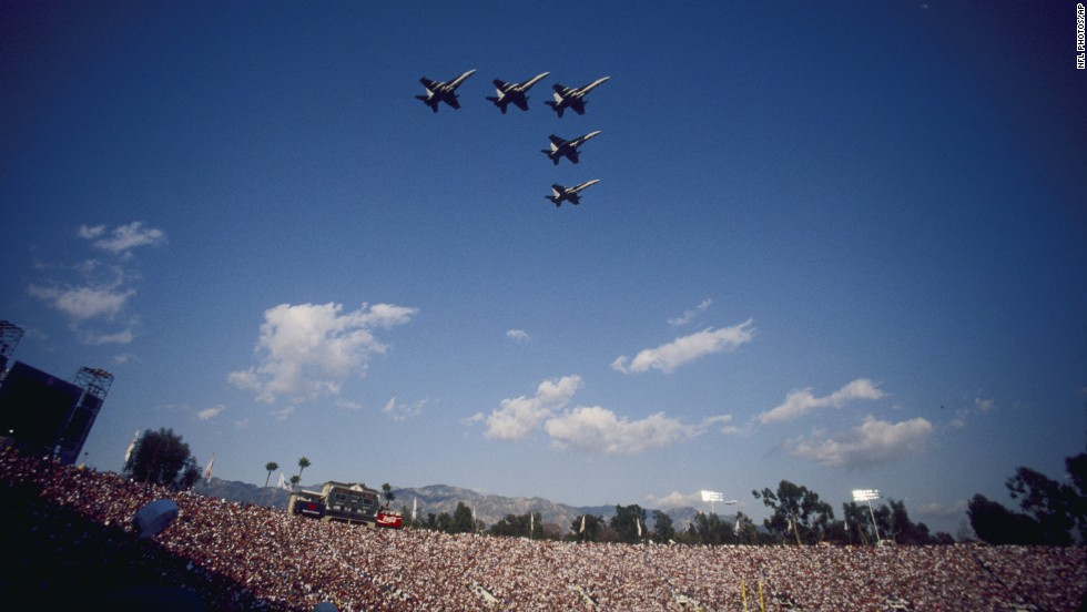A V-shaped wedge formation soars above the Rose Bowl in Pasadena, California, the site of Super Bowl XXVII in 1993.