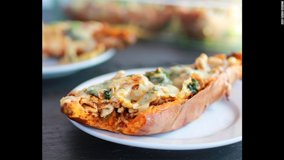 Potato skins are a must-have for the Big Game. These chipotle chicken sweet potato skins feature sweet potatoes, which are lower in calories and higher in fiber, paired with low-fat cheese.