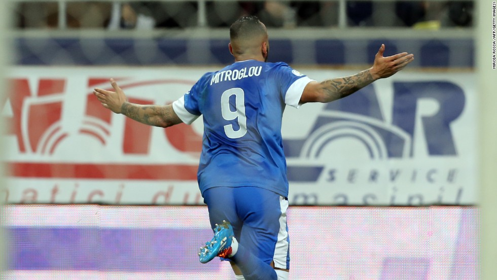 Konstantinos Mitroglou celebrates scoring for Greece in their World Cup playoff match against Romania in November. He has signed for English Premier League Fulham from Olympiakos on the final day of trading.