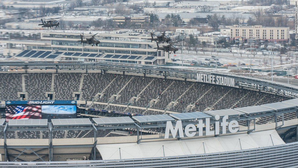 At this Sunday's Super Bowl in East Rutherford, New Jersey, nine Army helicopters are scheduled to perform the traditional pregame flyover. On Friday, AH-64 Apache and UH-60 Black Hawk helicopters of the 101st Combat Aviation Brigade practiced over MetLife Stadium. Military flyovers at NFL championships date back to Super Bowl II at Miami's Orange Bowl in 1968.