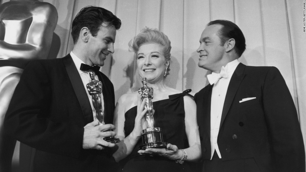 "Schell is seen backstage at the 1961 Academy Awards with actress Greer Garson and host Bob Hope. Schell was awarded Best Actor for his role in ""Judgment at Nuremberg."" Garson accepted the Best Actress award for Sophia Loren."