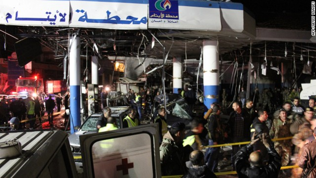 Emergency personnel at the scene of the blast in Hermel.