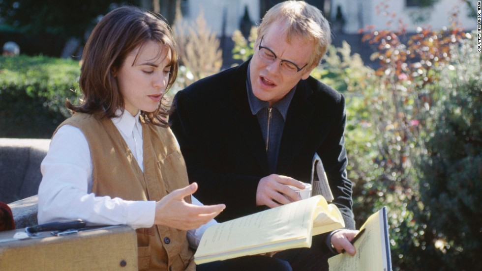 "Hoffman appears with Rebecca Pidgeon in 2000's ""State and Main."" He plays a screenwriter suffering from writer's block."