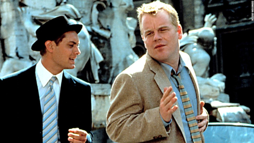 """Jude Law and Hoffman share a scene in 1999's """"The Talented Mr. Ripley."""" Hoffman was hailed as a scene stealer in the psychological thriller set in Italy."""