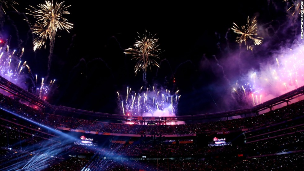 Fireworks go off over the stadium at the end of the halftime show.