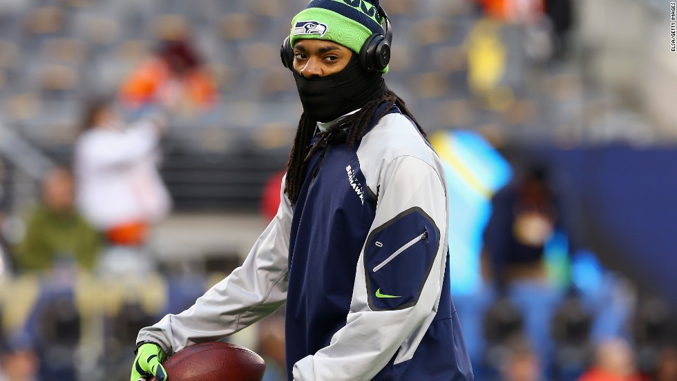 Seattle's controversial cornerback Richard Sherman was well protected against the New Jersey elements prior to the showdown.