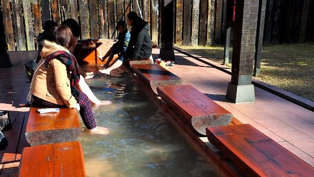"Away from the ""Blood Pond,"" visitors can warm up their toes in less extreme hot spring waters."