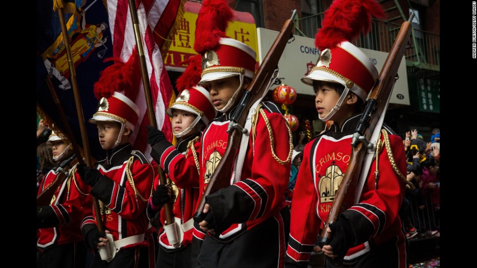 Children participate in a parade in the Chinatown neighborhood of New York City on February 2.