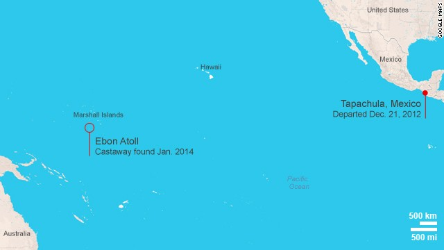 Map: Drifter found in Marshall Islands