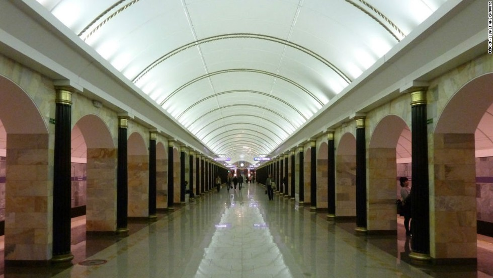 Russia's subway stations are among the world's most impressive. This 2011 addition skilfully blends classic and modern design.