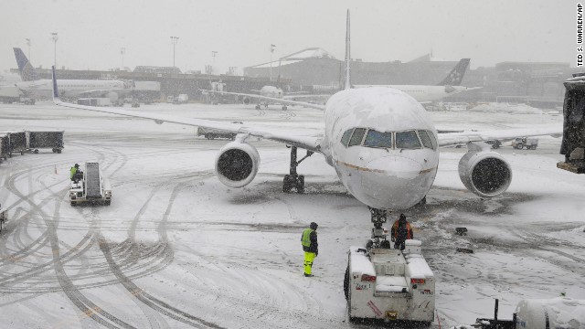 A United Airlines airplane is about to depart Newark Liberty International Airport in New Jersey on Monday.