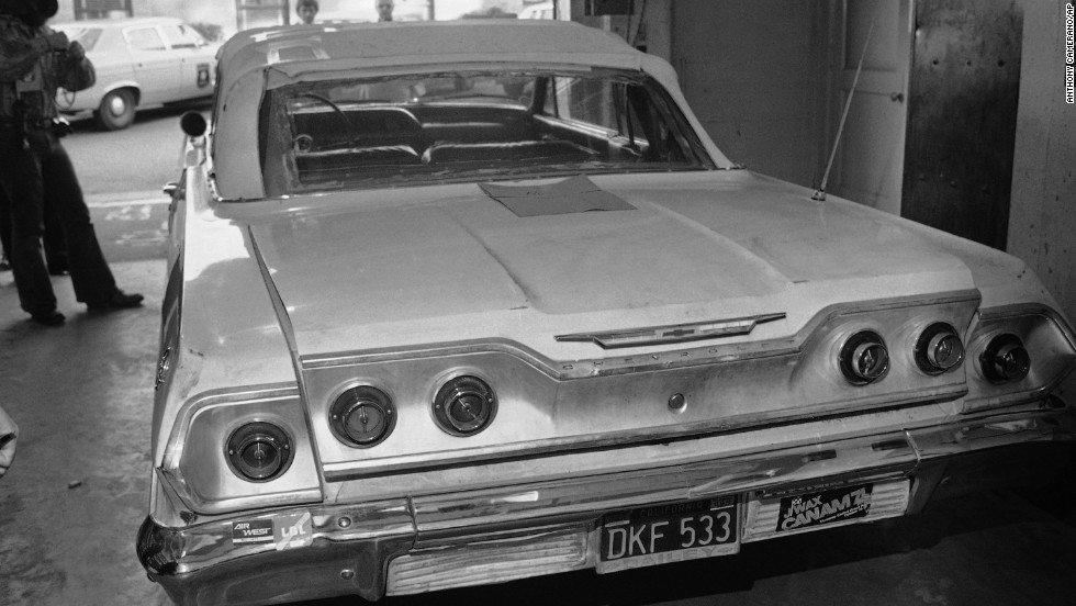 A car at the Berkeley Police Department on February 5, 1974. Police said Hearst was blindfolded and thrown into the trunk of the car.