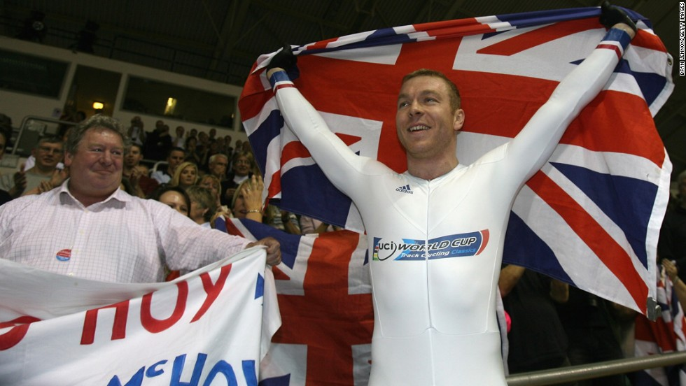 British cyclist Chris Hoy celebrates with his father, David, after winning the keirin final during the Track Cycling World Championships in England in 2008.