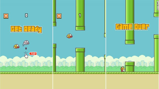"The three stages of the addictive ""Flappy Bird"" smartphone game: hope, adrenaline and grief."