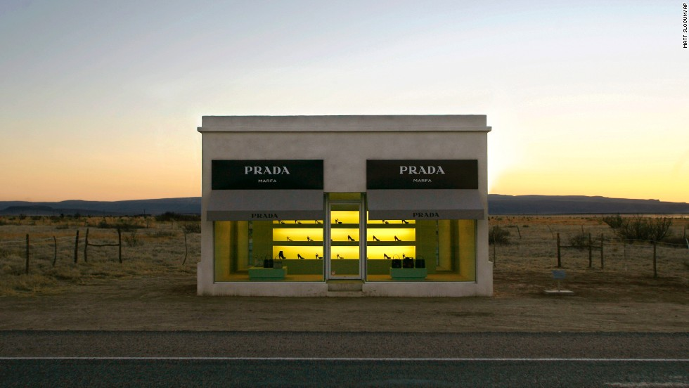 "This stucco and adobe Prada Marfa ""store,"" near Valentine, Texas, is actually an art installation created by art duo of Michael Elmgreen and Ingar Dragset."