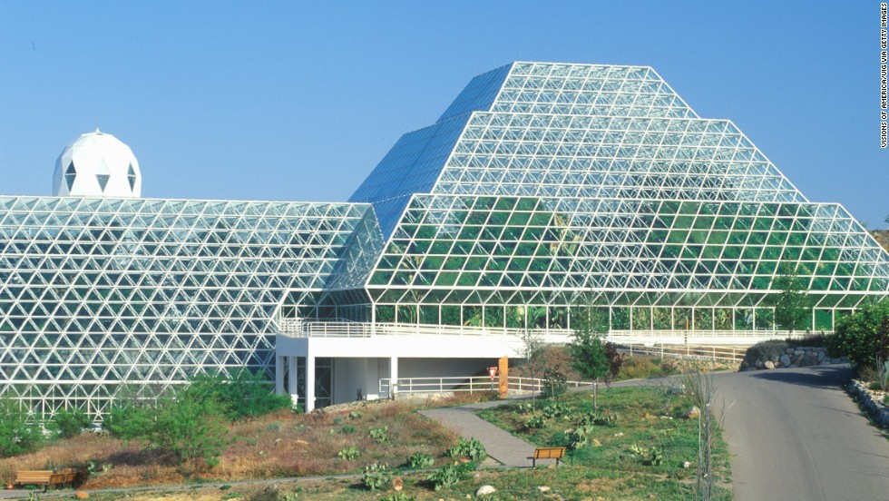 Biosphere 2 was built in the 1980s to research space-colonization technology. That mission didn't work out and now it's a University of Arizona research center.