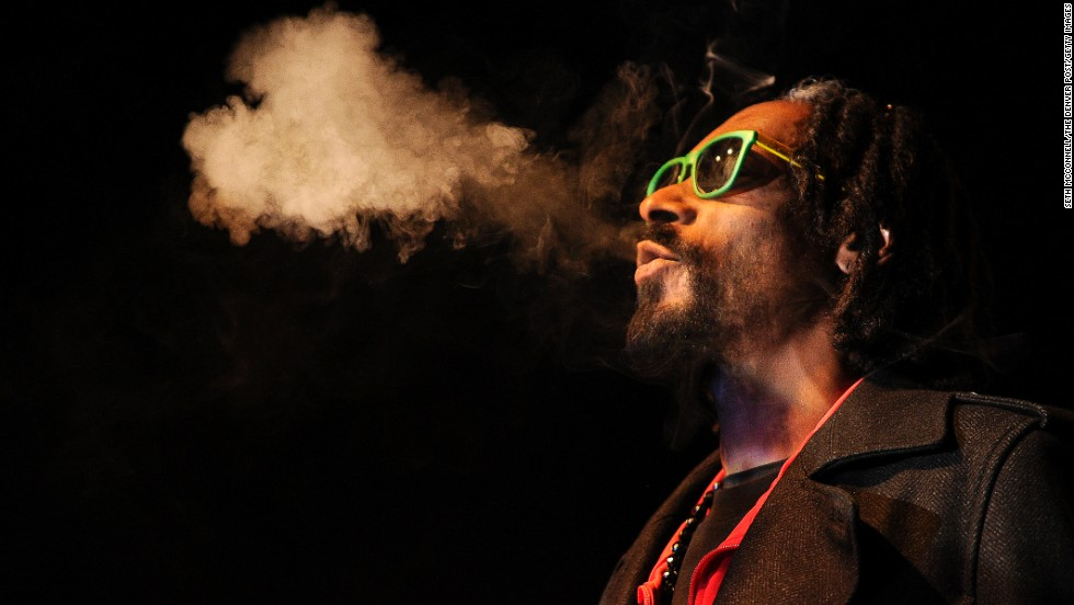 "Snoop is such a fan of pot, he created <a href=""http://www.youtube.com/watch?v=HkfC2dfNHGM&feature=player_embedded"" target=""_blank"">""Rolling Words: A Smokable Songbook,""</a> a book of lyrics ... printed on rolling papers. You can even light a match on the book's spine. He is pictured at the inaugural High Times U.S. Cannabis Cup in Denver on April 19, 2013."