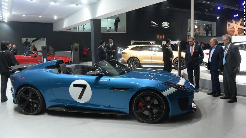 El concepto retro-futurista de Jaguar se muestra aquí en el Auto Expo en Greater Noida, en las afueras de Nueva Delhi.