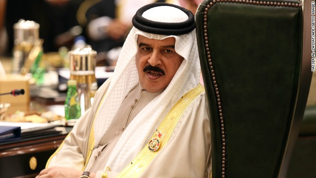 The King of Bahrain, Hamad bin Isa al-Khalifa, at the Bayan Royal Palace in Kuwait City, on December 10, 2013.