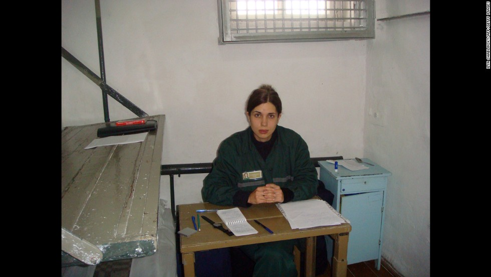 "Tolokonnikova sits in a single confinement cell at her penal colony in Partza, Russia, in September. Russian prison authorities moved the jailed activist to the medical unit of her penal colony after her health worsened on the fifth day of a hunger strike. Tolokonnikova said she began her hunger strike to protest prisoners being forced to work excessive hours and being treated like ""slaves."" Prison authorities denied her allegations, accusing her of lying."