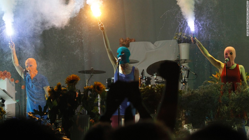 Members of Pussy Riot perform during a Faith No More concert in Moscow in July 2012.