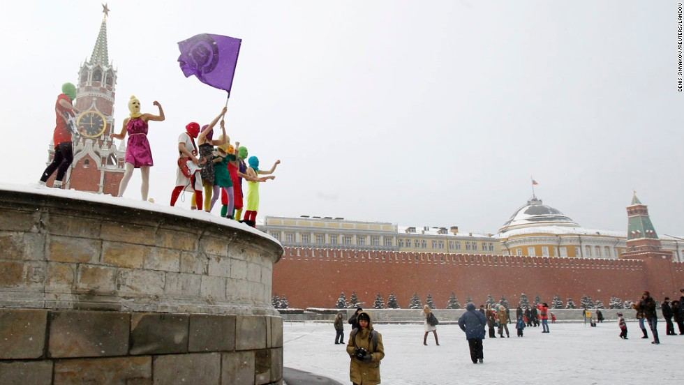 Members of Pussy Riot sing a song in Moscow's Red Square in January 2012.