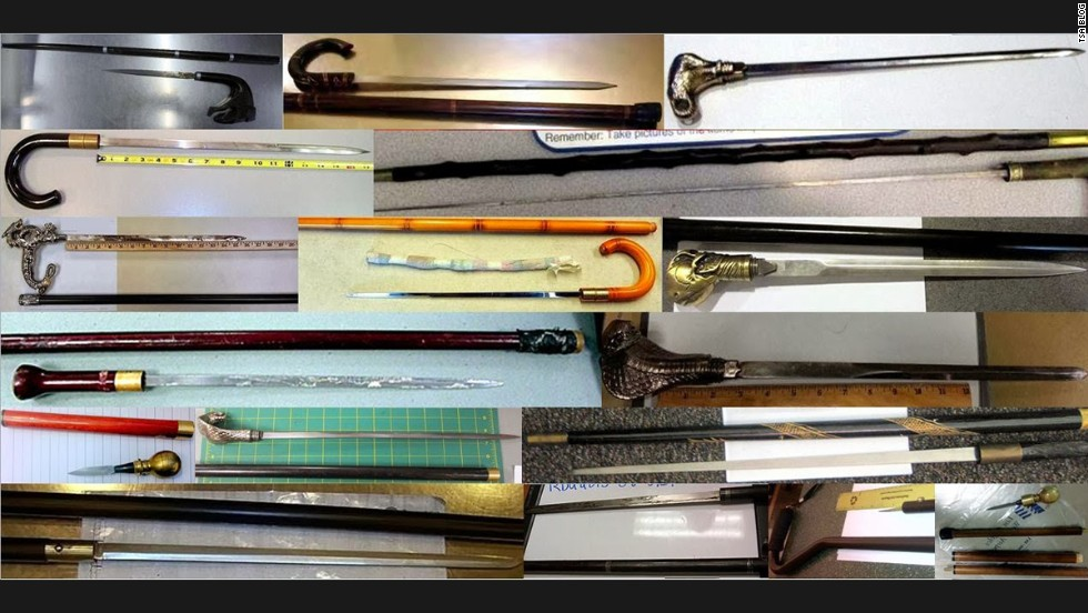 Just some of the cane swords discovered in 2013. TSA screened more than 600 million passengers last year.