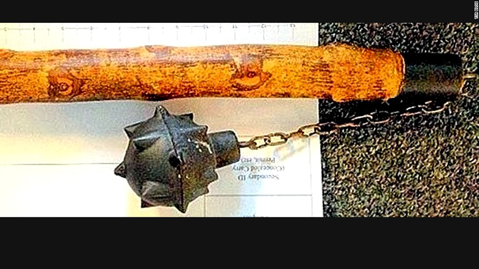 A mace was one of the more menacing items confiscated. Would love to have heard the explanation for this one.