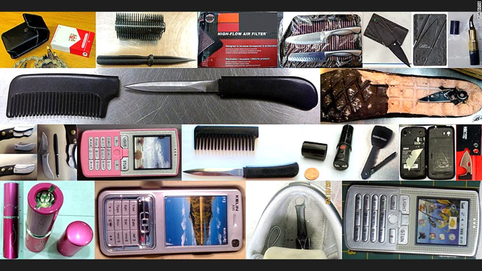Some of the items used ingenious ways to try to circumvent the officials. A cigarette pack stun gun, a dagger concealed within a brush, a credit card knife, a lipstick knife, a stun gun cell phone, a lipstick stun gun and a razor concealed in a cell phone were all confiscated in 2013.