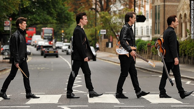 "The cast of the London stage show ""Backbeat"" recreated the ""Abbey Road"" cover. So can you."
