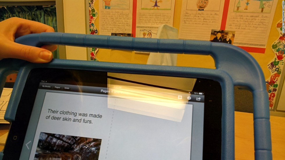 A second-grade student shot this photo with Glass while he worked on a class e-book about the Lenape people and culture.