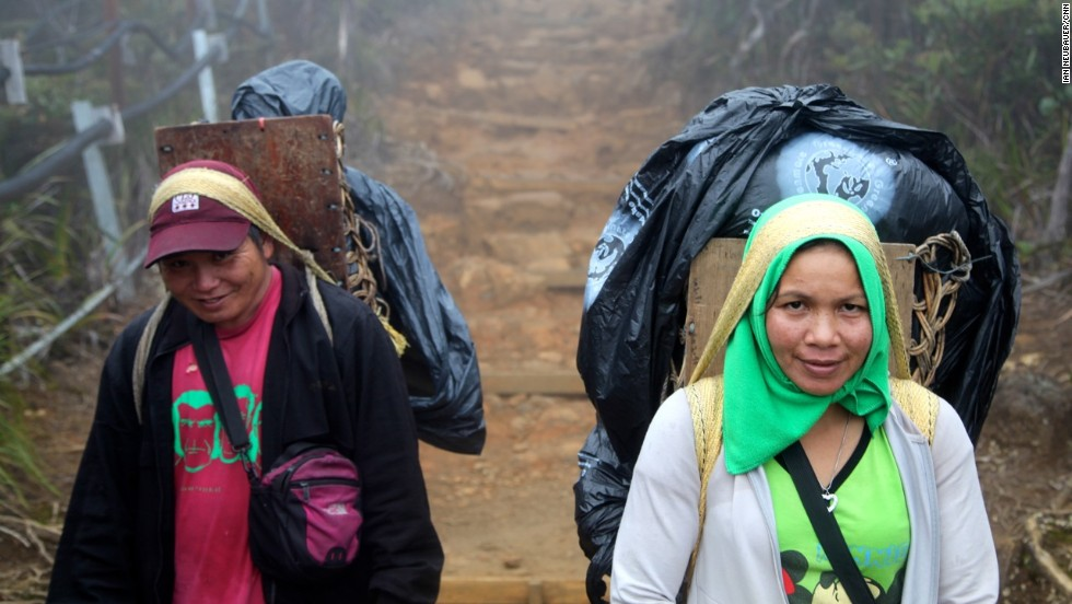 Local porters earn only 128 Malaysian ringgit ($40) for two days' work on Mount Kinabalu. Nevertheless, the positions are highly coveted among subsistence farmers living at the foothills of the mountains.