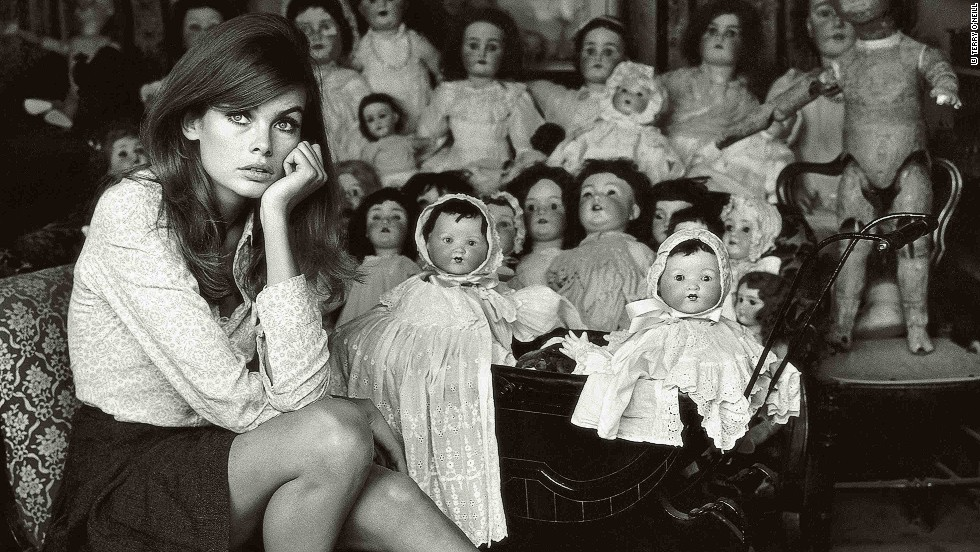 """O'Neill remembers photographing the supermodel again the following year: """"People used to always say she had a face like a doll, so I took her down to the doll hospital and did her with these."""""""