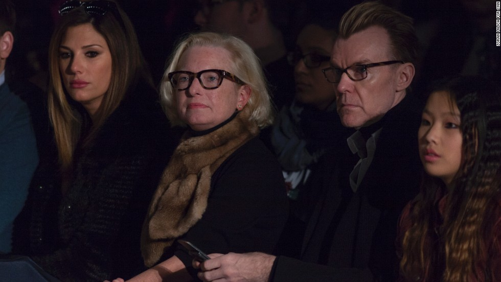 Daisy Fuentes and Neiman Marcus fashion director Ken Downing sit front row at Carmen Marc Valvo's show. Other celebrities in attendance were Katie Couric and Vanessa Williams.