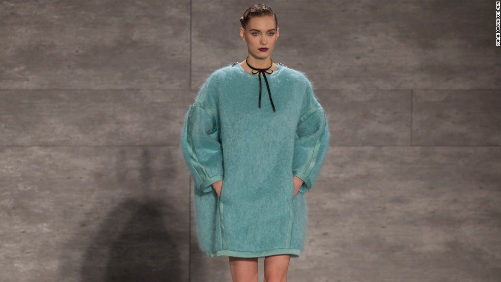 This is only the second time Zimmermann (by Aussie sisters Nicky and Simone Zimmermann) has shown at New York Fashion Week, but statement pieces like this fluffy, powder blue number are quickly making them a mainstay.