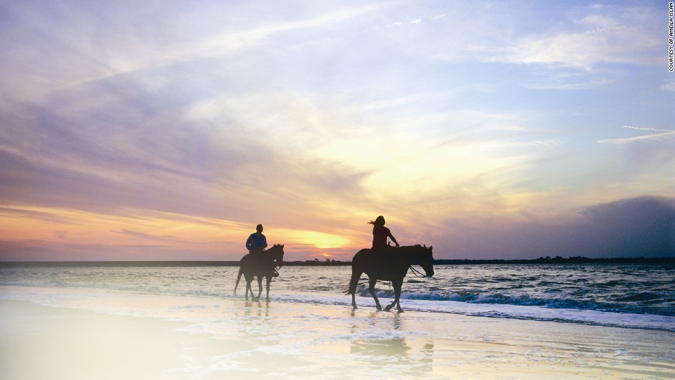 Romantic horseback rides on the beach are part of Amelia Island's allure.