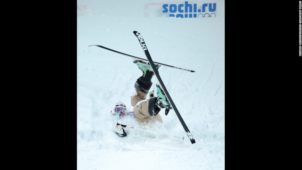 Norway's Hedvig Wessel takes a tumble during qualifying for the women's moguls event on February 8.