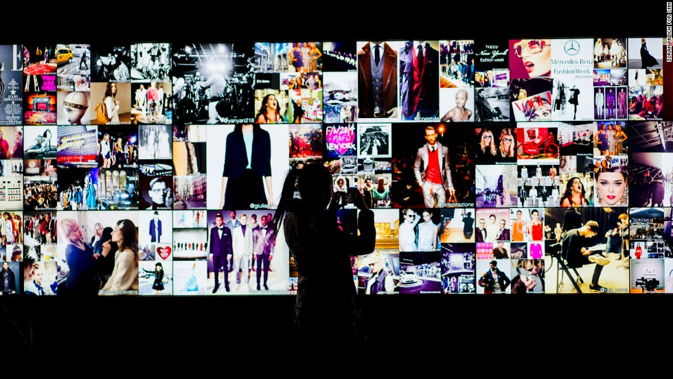An Instagram wall updates in real time with audience members' pictures in Lincoln Center.