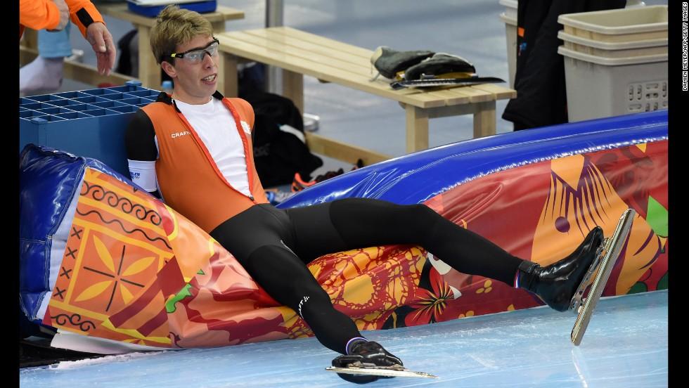 Dutch speedskater Jorrit Bergsma is seen after the men's 5,000-meter race on February 8.