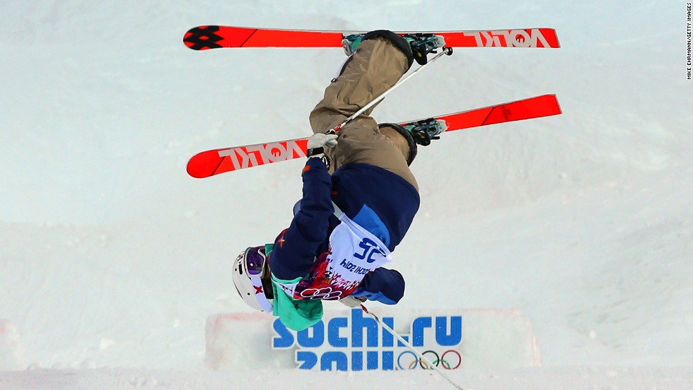 Hedvig Wessel of Norway crashes out in the women's moguls on February 8.